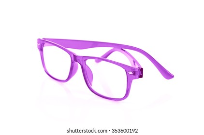 purple Eye Glasses Isolated on White background
