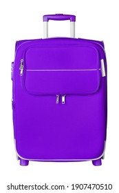 Purple fabric travel suitcase with zipper, handle, lock white background isolated closeup front view, large blue cloth baggage case, big textile luggage trolley bag, summer holidays, tourism, vacation