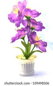 Purple fake flowers