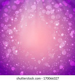 Purple festive background with bokeh
