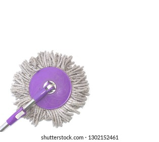 Purple floor mop mob. dirty mob; Isolated on white.