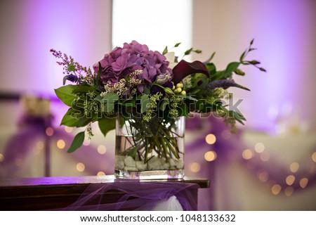 Purple Flower Centerpiece Wedding Reception Stock Photo Edit Now