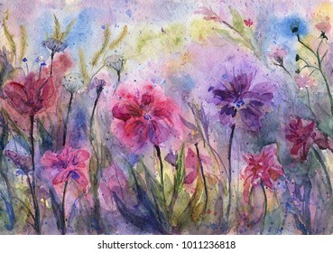 Purple flowers and herbs. Abstract violet meadow. Emotional painting. Watercolor artwork