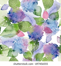 Purple flowers of hydrangea on seamless background.