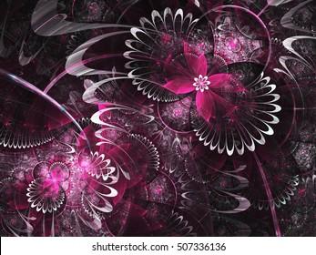 Purple fractal flowers, digital artwork for creative graphic design