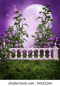Purple garden with a marble fence and the moon