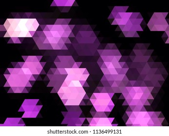 purple geometric low poly polygon scattered patten design with triangle gradient elements on a black background