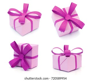 Purple gift boxs with bow isolated on white