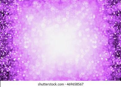 Purple glitter sparkle burst background or party invitation border for happy birthday, Halloween or club