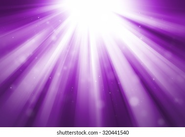 Purple glitter sparkle defocused rays lights bokeh abstract background.