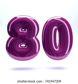 Purple glossy celebrate letter number eighty 80 bold and uppercase. 3D render font painted with purple polish and light reflection isolated on white background with clear shadow