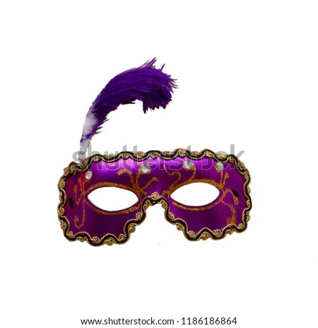 30735414e313 Purple and Gold Diamond Italian Masquerade Mask with Purple and White  Feather