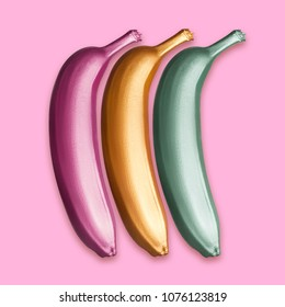Purple, gold and green metallic golden bananas on a pink background. A modern creative concept. Contemporary art