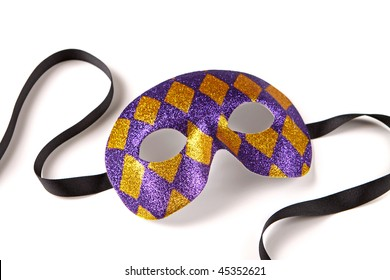 Purple and Gold Harlequin Venetian Mask with Black Ribbon on White with Soft Shadow