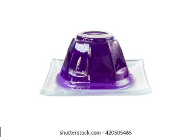 Purple grape jelly on dish isolated with clipping path on white background