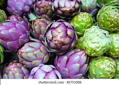 Purple and Green Artichokes