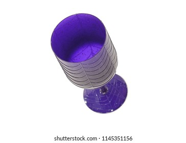 A purple Halloween goblet with spider's web pattern running through it. Studio photo taken from above with top of glass in focus and soft focus for the base, Space for text.