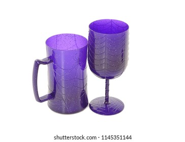 A purple Halloween tankard and goblet with spider web pattern and speckles, on a white background with space for text.