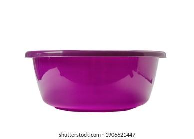 Purple hand basin isolated on white background.