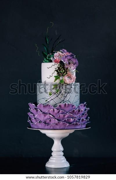 Superb Purple Happy Birthday Cake Beautiful Flowers Stock Photo Edit Now Funny Birthday Cards Online Alyptdamsfinfo