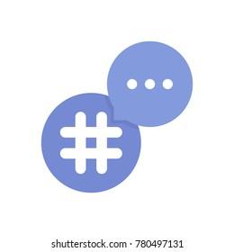 purple hashtag logo with bubble. concept of single mark, grid, lattice, information, pr, popularity, timeline, commerce. flat style trend modern logotype design vector illustration on white background