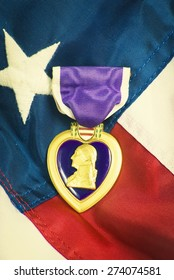 Purple heart awarded for wounds in combat. Retro instagram look.