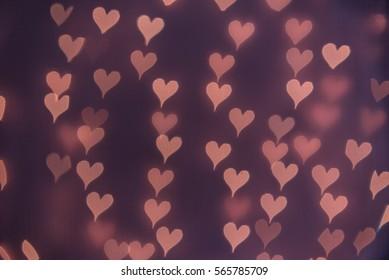 Purple, heart bokeh background. Modern flat design for card or website.