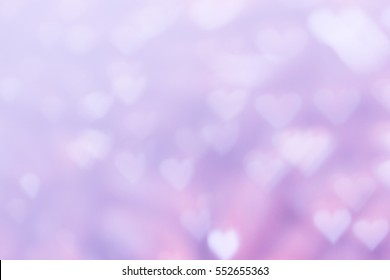 Purple heart bokeh background for Valentine day