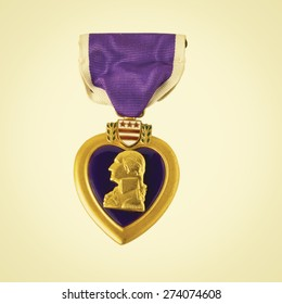 Purple Heart medal awarded for being wounded in combat. Retro instagram look.