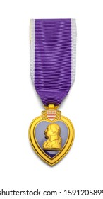 Purple Heart Military Medal Isolated on White Background.