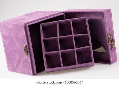 purple jewerly empty box luxuryt case