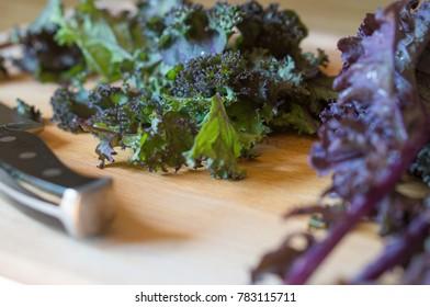 purple kale cutting board