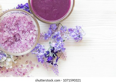 Purple Lavender aromatherapy Spa with salt and treatment for nail body. Thai Spa relax massage.  Healthy Concept. select and soft focus