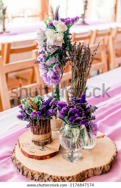 Purple Lavender Wedding Table Decor Dry Stock Photo Edit