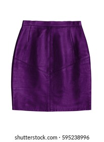 purple leather pencil skirt, isolated on white background