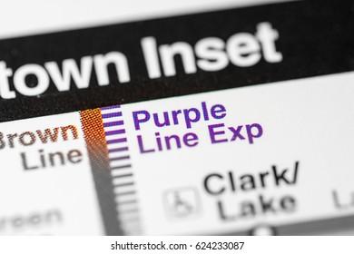 Purple Line Exp Station. Chicago Metro map.