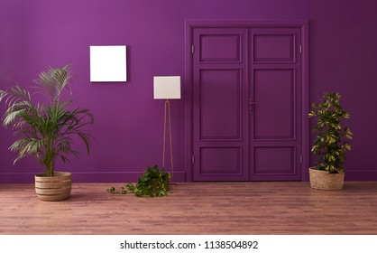 Purple living room with classic purple door and wicker vase of plant. Brown parquet detail.