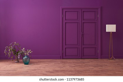Purple living room and door interior style and living room concept.