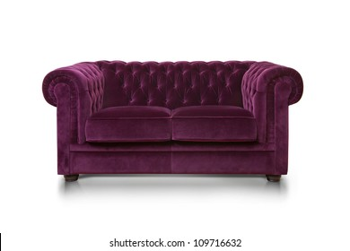 Purple luxurious sofa isolated on white background, front view.