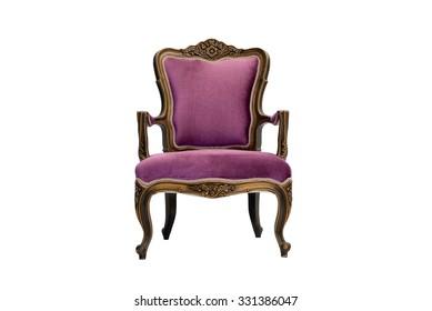 purple luxury armchair on white background