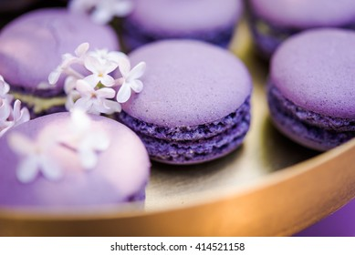 Purple macarons with spring flowers. French delicate dessert for Breakfast in the morning light