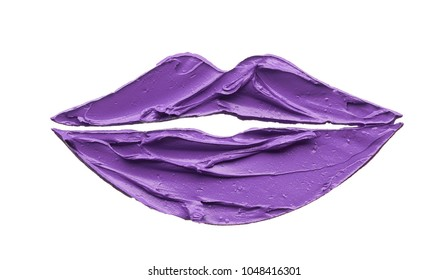 Purple makeup smear of lip gloss isolated on white background. Purple lipstick texture isolated on white background. Stencil lips made by broken purple lipstick