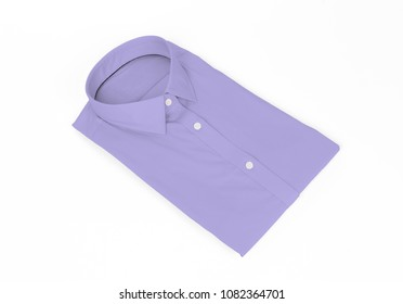 Purple man shirt on white background - New and folded