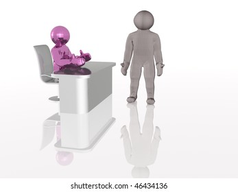 Purple man at the table and gray man, white background.