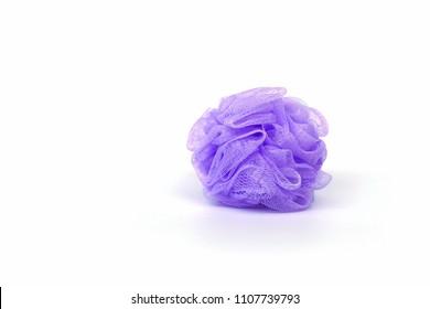 Purple mesh shower sponge aka Bath puff, Bath Body Scrubber Loofah on white background