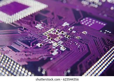 Purple microchip processor close-up