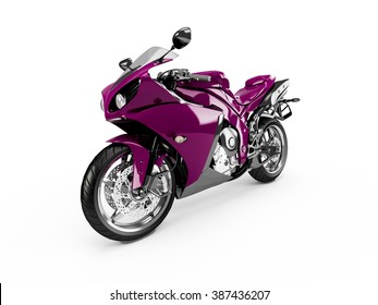 Purple motorcycle isolated on a white background.
