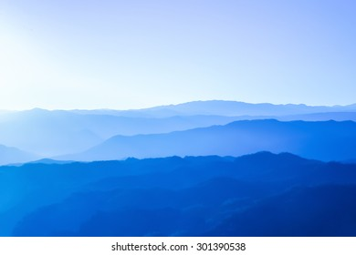 Purple mountains with sunlight in Chiangmai, Thailand during winter