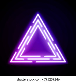Purple neon light triangles. Shining techno frame. Night club electric bright 3d sign. Banner design on dark blue backdrop. Neon abstract tech background with glow. Technology raster illustration.