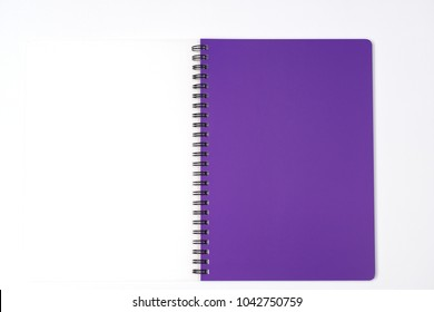 purple Notebook and notepad on White background